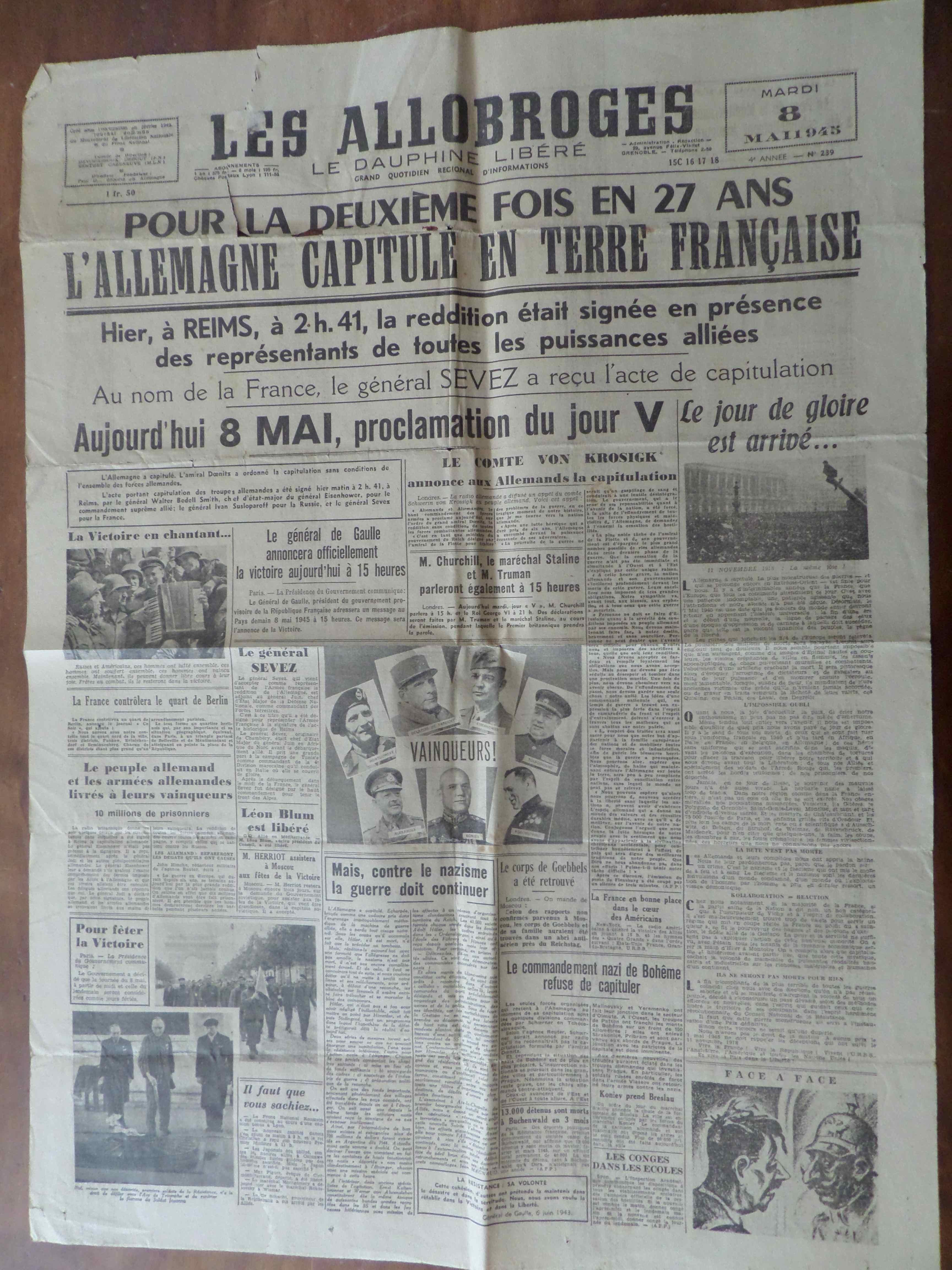 mardi 8 mai 1945 les journaux annoncent la capitulation du iii me reich un monde de papiers. Black Bedroom Furniture Sets. Home Design Ideas