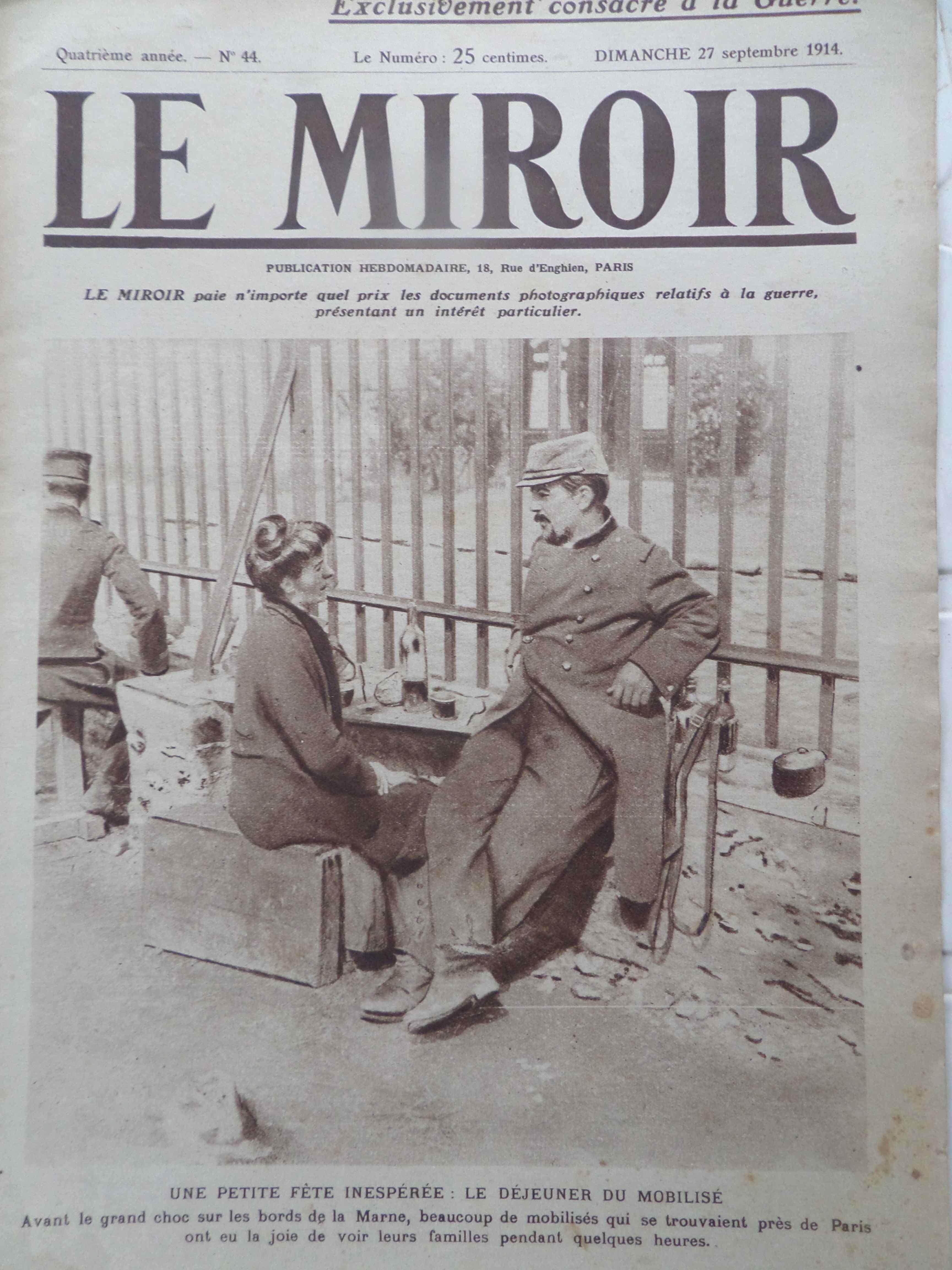 Il y a 100 ans jour pour jour le miroir du dimanche 27 for Le miroir paris