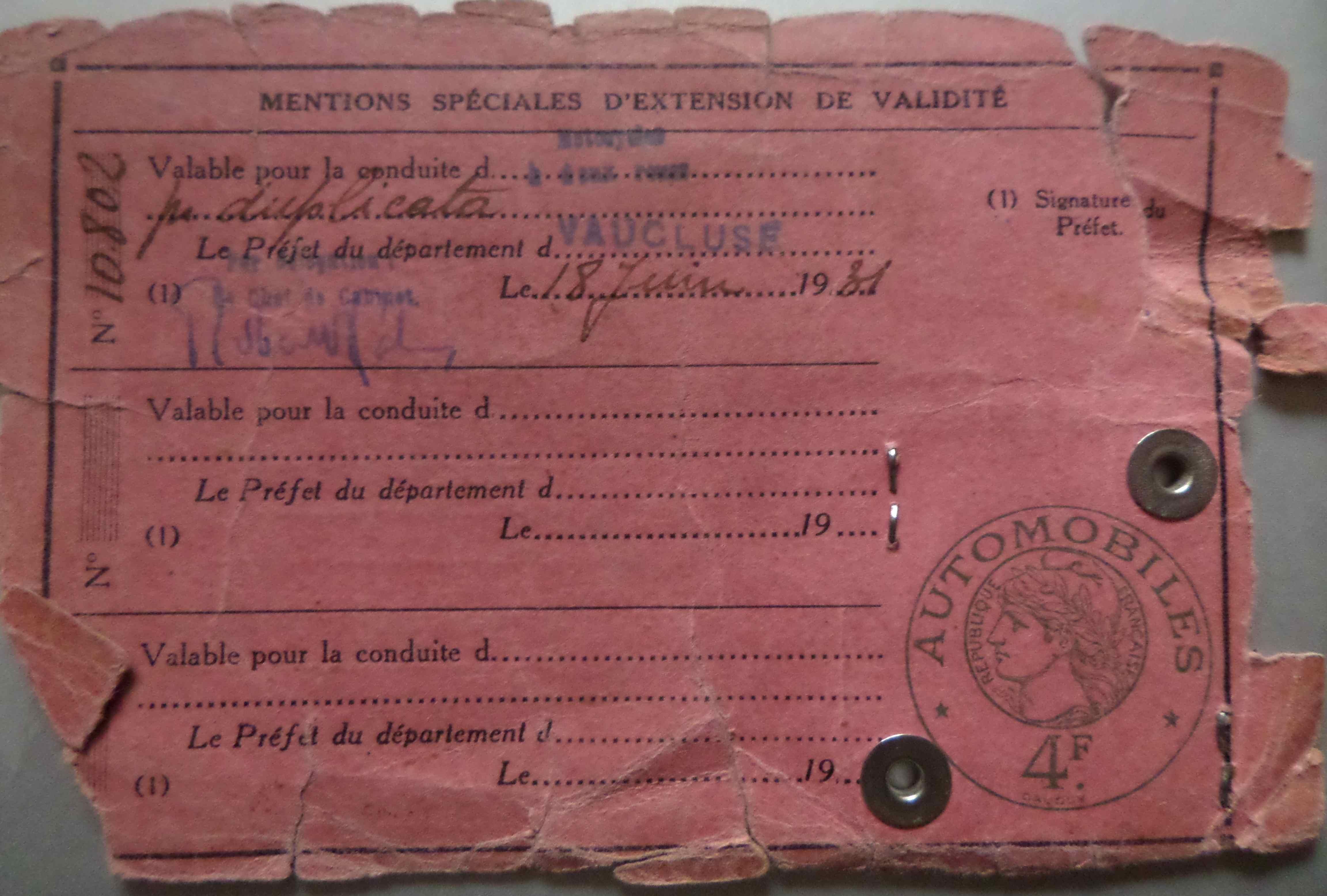 le permis de conduire de gabriel gu rin obtenu en 1936 un monde de papiers. Black Bedroom Furniture Sets. Home Design Ideas