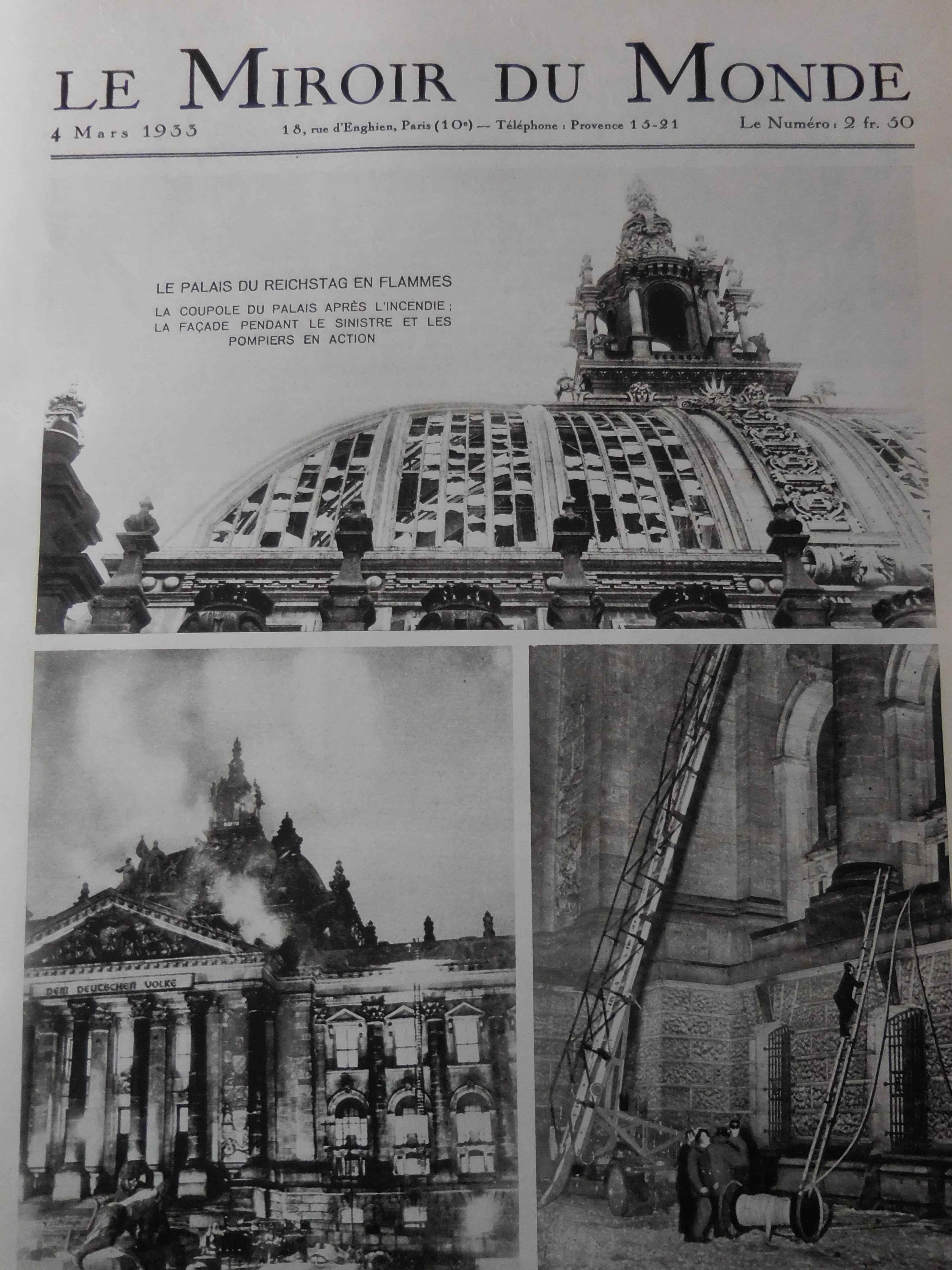 L incendie du reichstag dans le miroir du monde du 4 mars for Miroir du monde